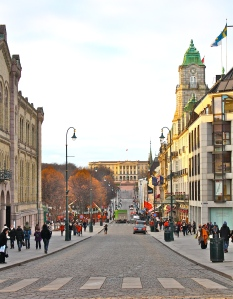 Karl Johan gate, vasemmalla Stortinget, edessä kuninkaanlinna. Kuva: Reeta / Les! Lue!